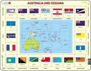 Puslespill - Australia og Oseaniakart m/flagg