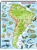 Puslespill - Sør-Amerika, kart med dyr